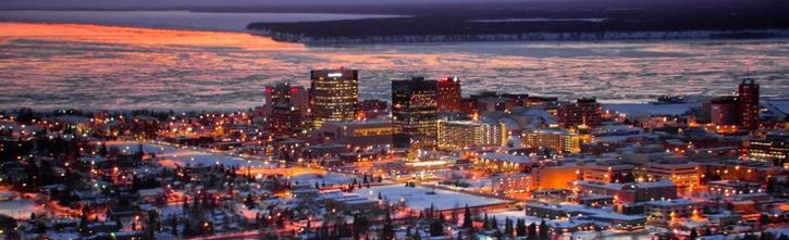 Anchorage skyline sunset