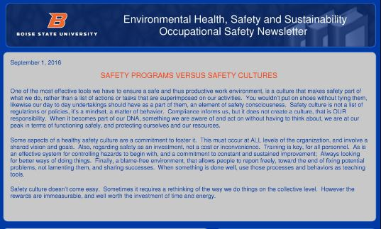 Occupational Safety Newsletter