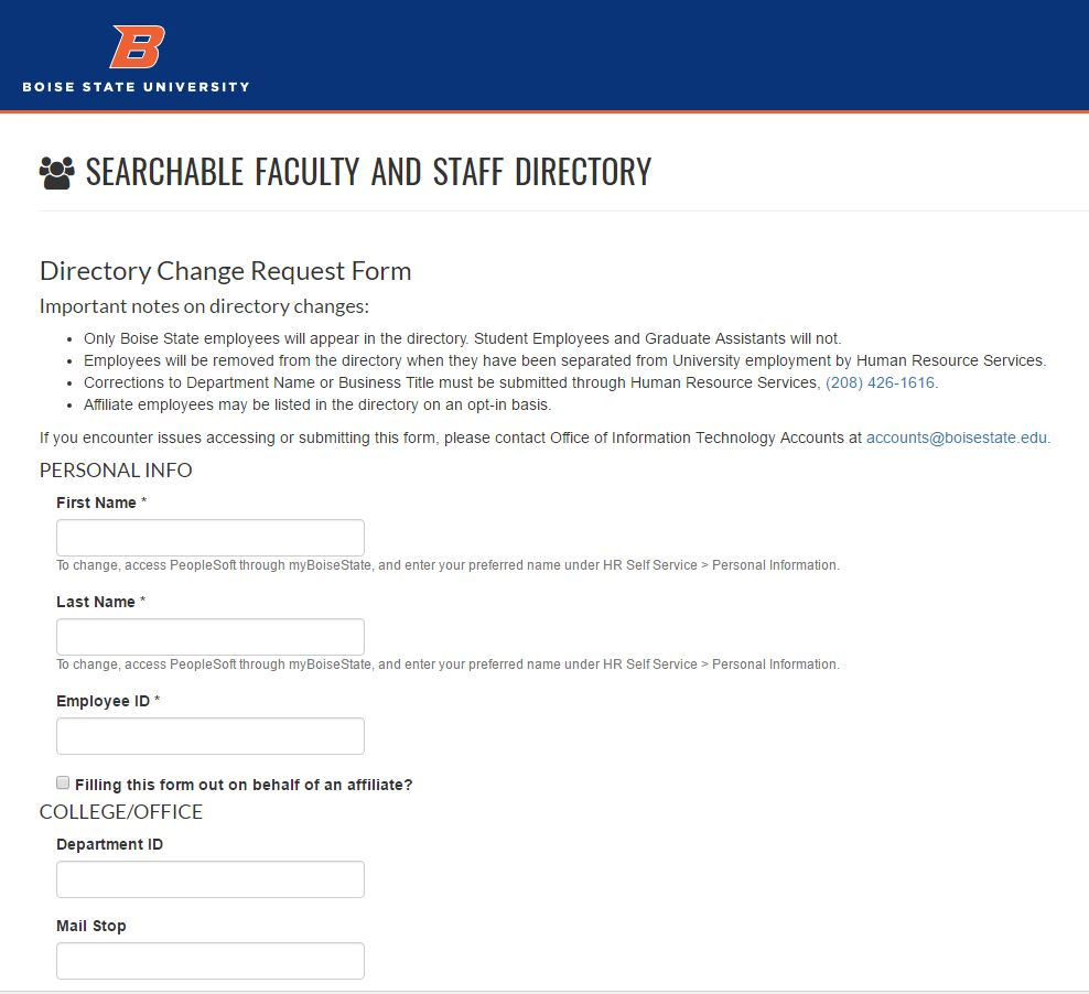 Directory Change Request Form