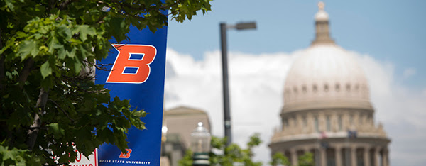 Image of Boise State flag and Idaho Capitol