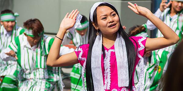 Burmese Karen woman dancing