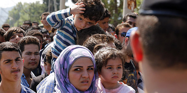 Refugees in crowd