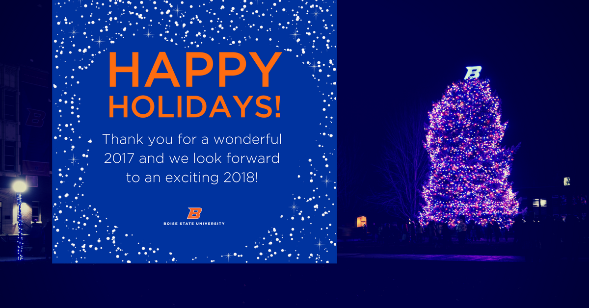 Happy Holidays! Thank you for a wonderful 2017 and we look forward to an exciting 2018!