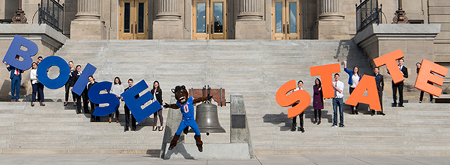 image of students and Buster Bronco on capitol steps